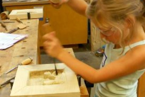 Youth woodcarving   sculpting